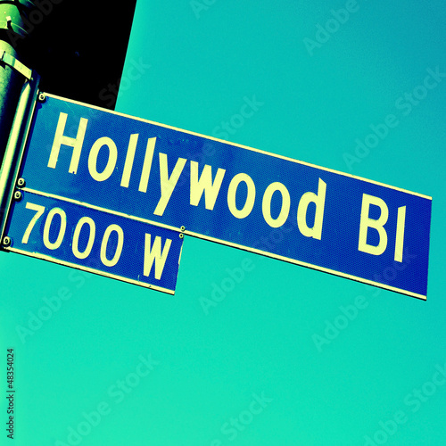 Hollywood Boulevard sign in Los Angeles, US
