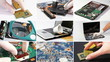 Collage of computer (laptop) hardware and components