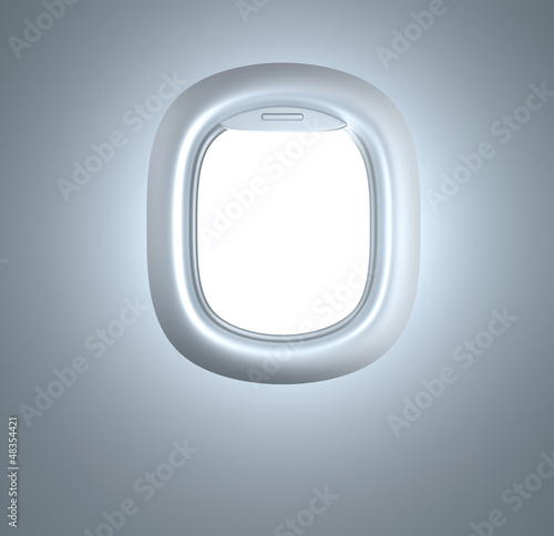 Porthole. Plane illuminator. In white colors.