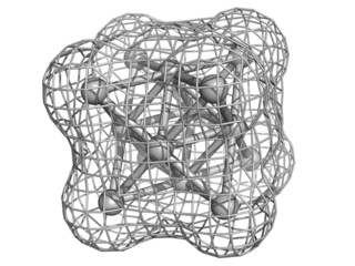 Silver metal (Ag), crystal structure.
