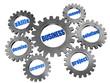 business concept in silver grey gearwheels