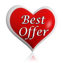 valentines best offer red heart banner