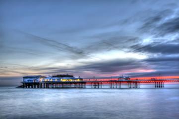 cromer pier at sunrise on english coast