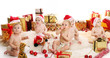 Babies in diapers celebrate christmas