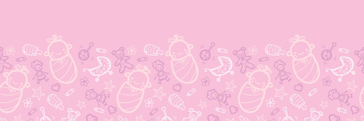 Vector baby girl pink horizontal seamless pattern background
