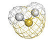 Hydrogen sulfide (H2S) molecule, chemical structure. H2S is a to