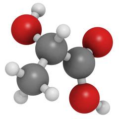 Lactic acid (milk acid, L-lactic acid) molecule, chemical struct