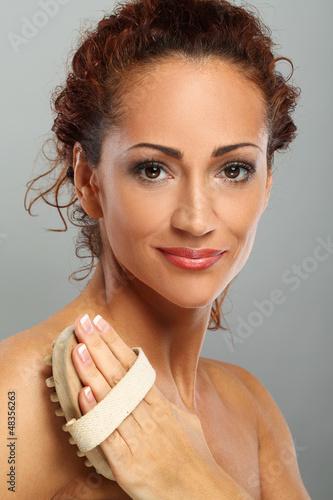 Beautiful natural middle aged woman massage