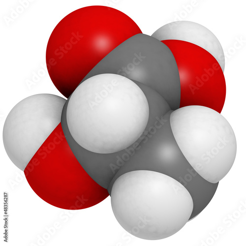 Lactic acid (milk acid, L-lactic acid) molecule, chemical struct