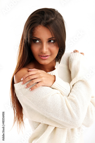 Beautiful calm brunette isolated