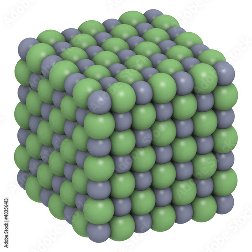 Sodium chloride (NaCl, table salt), crystal structure