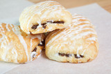 Chocolate croissants with icing