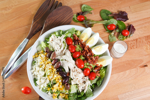 Entree sized serving of fresh hearty and colorful cobb salad
