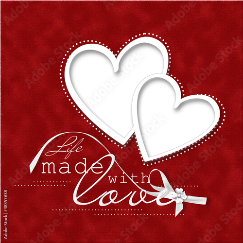 Valentine's Day Card.beautiful red background with frame-heart