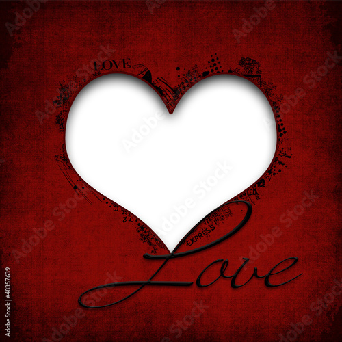 Happy Valentines Day. Grunge background with heart