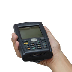 Barcode scanner operated on PocketPC isolated over white backgro