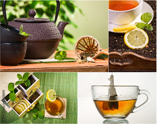 Collage of healthy green tea no. 1