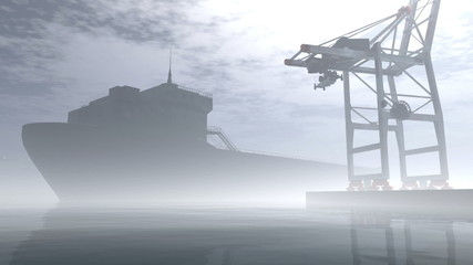Industrial Port 6  Sunset Sunrise 3D render