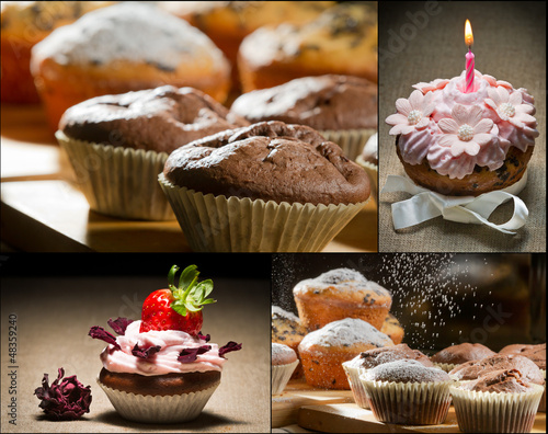 Collage of different types of muffins no. 4