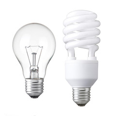 Tungsten light bulb and white energy saving bulb