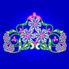 tiara women's wedding with precious stones on a blue