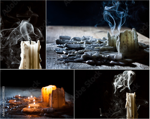 Collage with candles on the feast of the dead