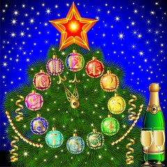 background with Christmas tree balls for hours and champagne