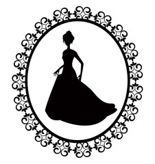 retro silhouette woman in frame