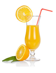 Cocktail glass set. Hurricane with orange juice and orange slice