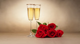 Fototapety Champagne glasses and roses