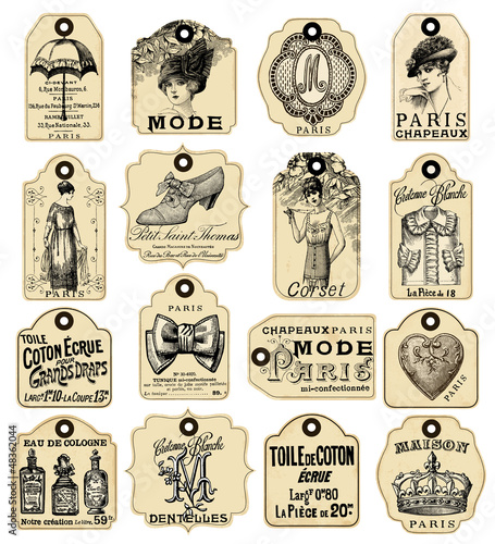 16 french retro labels - 48362044