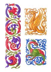 Три орнамента, стилизация под средневековый декор.