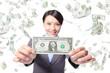 business woman smile show money