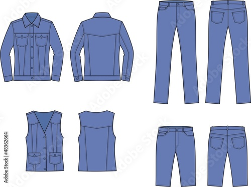 Vector illustration of women's jeans wear