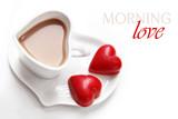 Valentine's Day coffee with heart chocolates