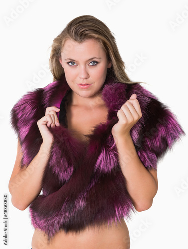 Woman wearing fur stole