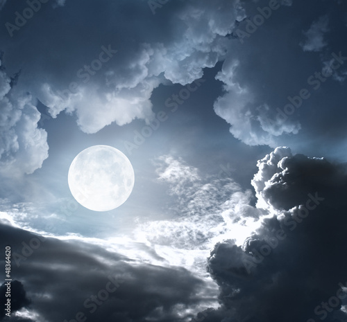 night sky with moon and clouds - 48364620