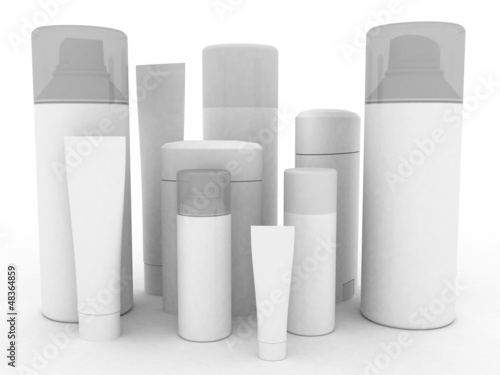 Means of hygiene on a white background, 3D images