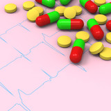 Pills and capsules on abnormal electrocardiogram (ECG) report poster