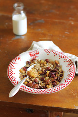 Healthy granola with dried fruits and nuts with milk
