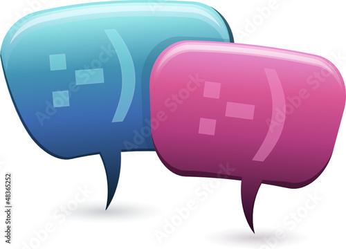 Personnages bulle en conversation homme femme