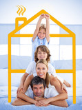 Family having fun with yellow house illustration