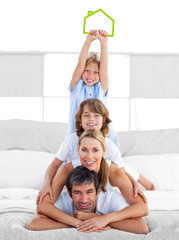 Jolly family having fun with green house illustration