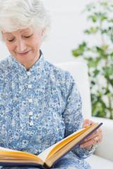 Elderly woman looking at her album