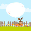 Bunny In Meadow Driving Car Easter Eggs Speech Bubble