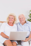 Aged couple using a laptop together