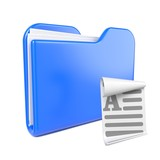 Blue Folder with Toon File Icon.