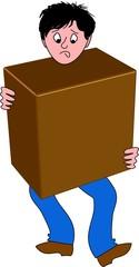mann transportiert eine kiste