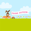 """Bunny Meadow Car Easter Eggs Banner """"Frohe Ostern"""""""