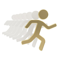Group of running symbolic figures isolated on white